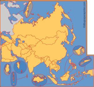 Países de Asia. Dibujos para pintar