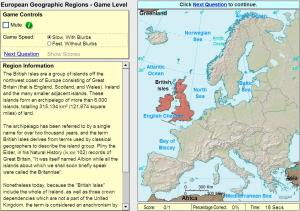 Geographic regions of Europe. Game. Sheppard Software