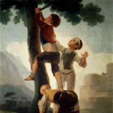 Muchachos trepando a un árbol