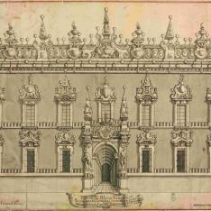 Fachada del Palacio Rangoni, en Parma, que el Cardenal Portocarro, hizo iluminar en la celebracn. del Baptimo del Rl. Principe