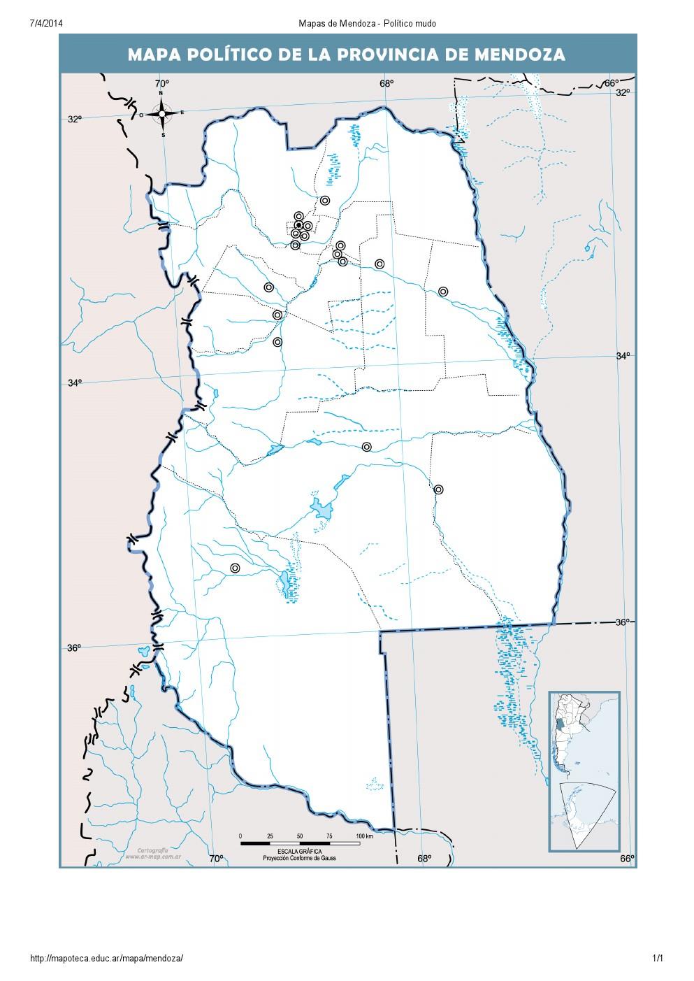 Mapa mudo de capitales de Mendoza. Mapoteca de Educ.ar