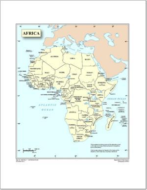 Mapa de países y capitales de África. Naciones Unidas