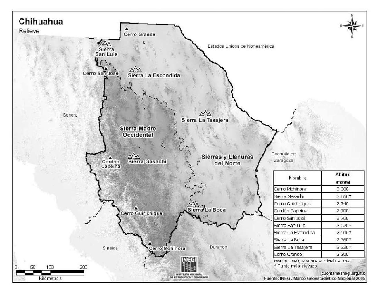 Mapa de montañas de Chihuahua. INEGI de México