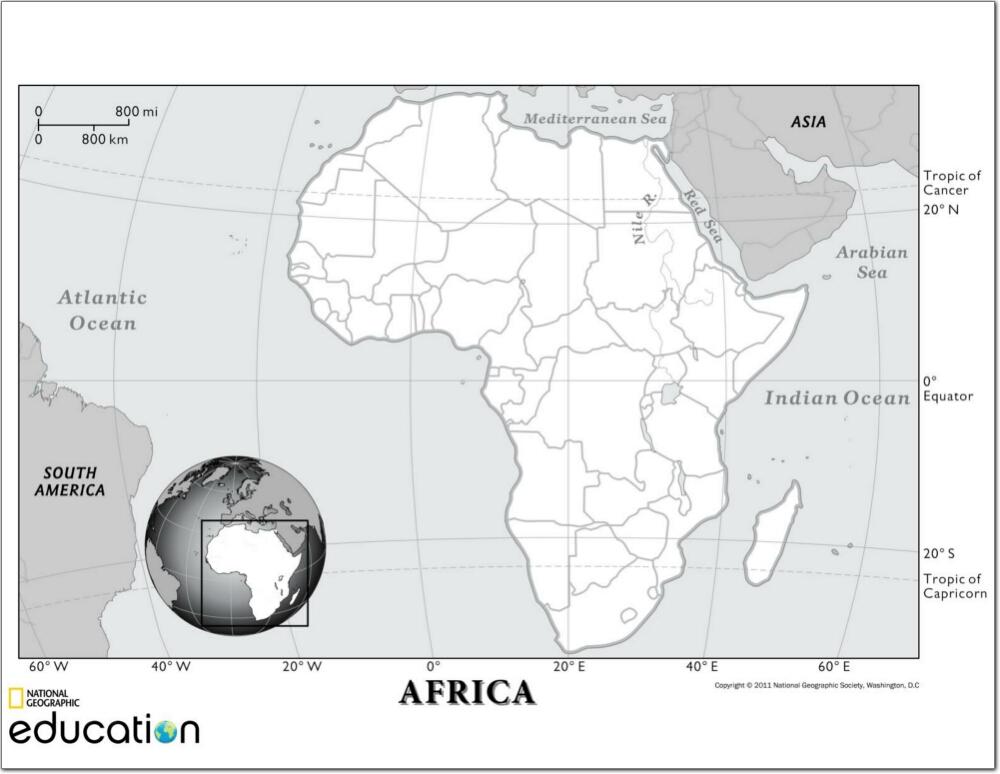 Mapa de países de África. National Geographic