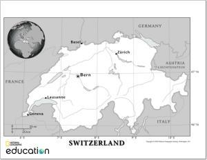 Mapa de ríos de Suiza. National Geographic