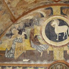 Abel presentando ofrendas. Pintura mural de la Iglesia de la Vera Cruz de Maderuelo.