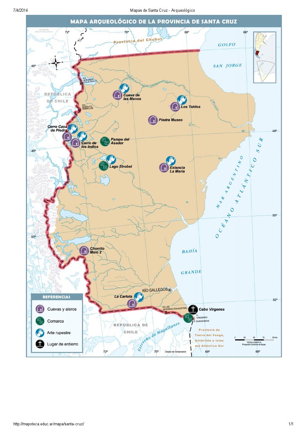 Mapa arqueológico de Santa Cruz. Mapoteca de Educ.ar