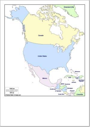 Mapa de países de América del Norte. d-maps