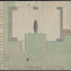 Plano perteneciente a la Obra en la Plaza de la Coruña