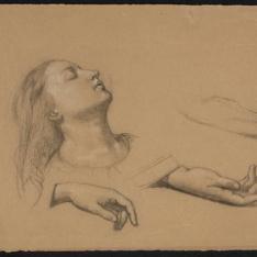 Estudio de cabeza femenina y tres estudios de la mano derecha para Santa Cecilia