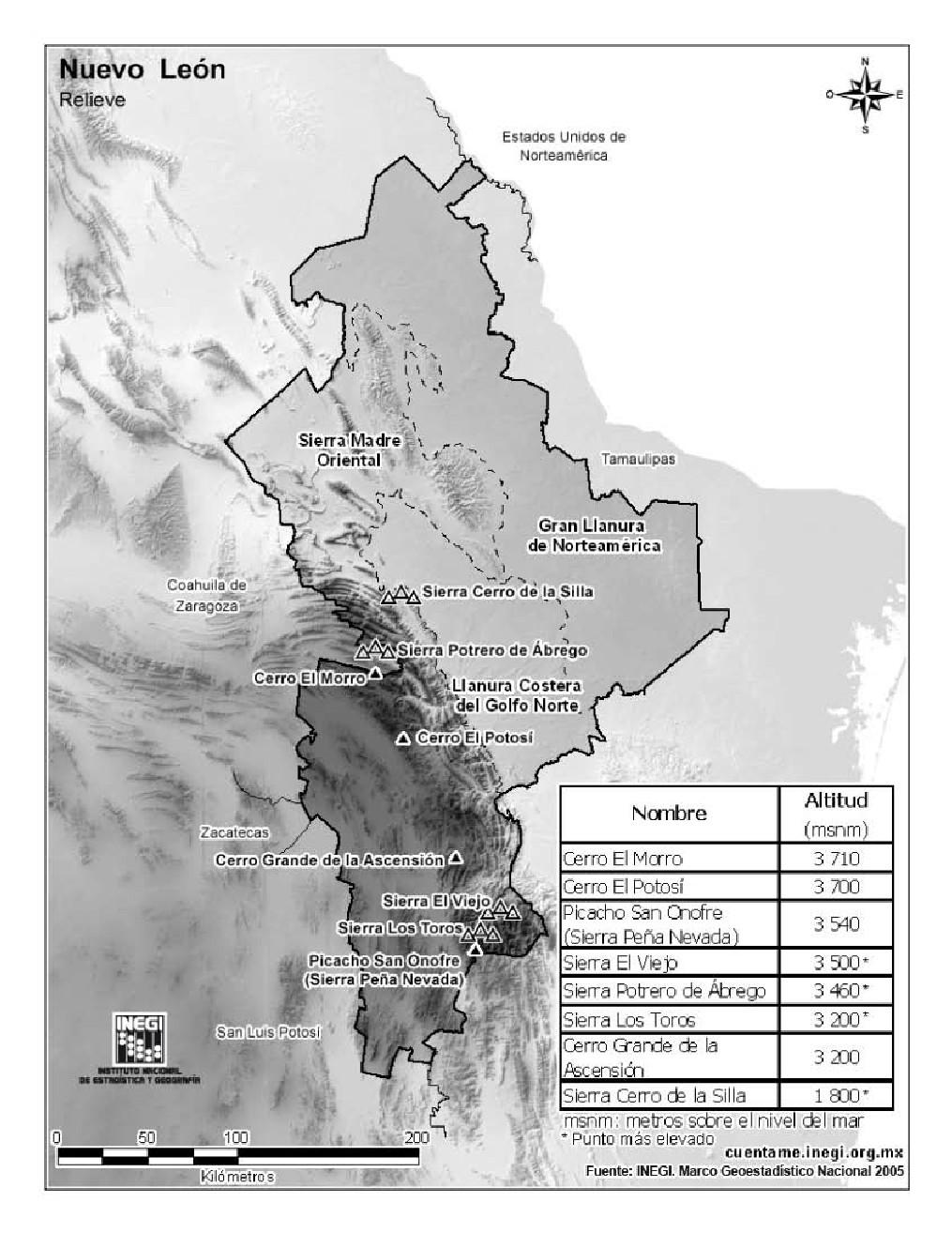Mapa de montañas de Nuevo León. INEGI de México