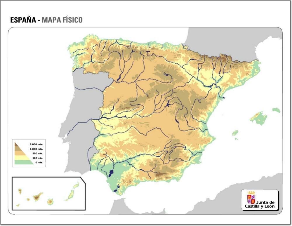 Mapa Fisico Mudo De Espana Mapa De Relieve De Espana Jcyl Mapas