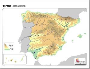 Mapa de relieve de España. JCyL