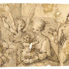 Sagrada Familia acompañada por un ángel y dos santos