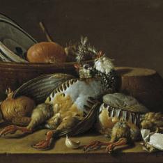 Bodegón: dos perdices, cebollas, ajos y vasijas