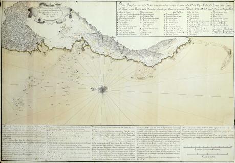 Plano y explicación de la Costa comprehendida entre la Barra del N. del Ryo Miño y la Punta de la Laxa del Perro