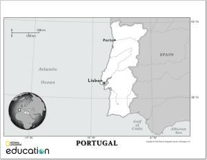 Mapa de ríos de Portugal. National Geographic