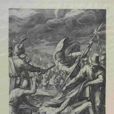 Soldados clavando a Cristo en la cruz