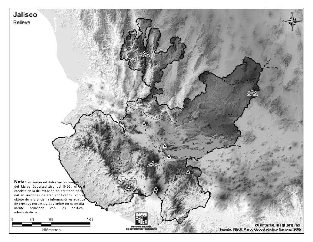 Mapa mudo de montañas de Jalisco. INEGI de México