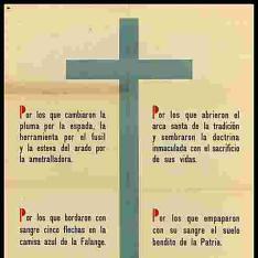Por las que están y por los que se fueron, creó el genio de Franco el caudillo la obra de Frentes y Hospitales