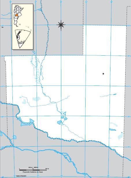 Mapa mudo de La Pampa. IGN de Argentina