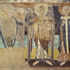 Dos ángeles y un santo arzobispo. Pintura mural de la Iglesia de la Vera Cruz de Maderuelo.