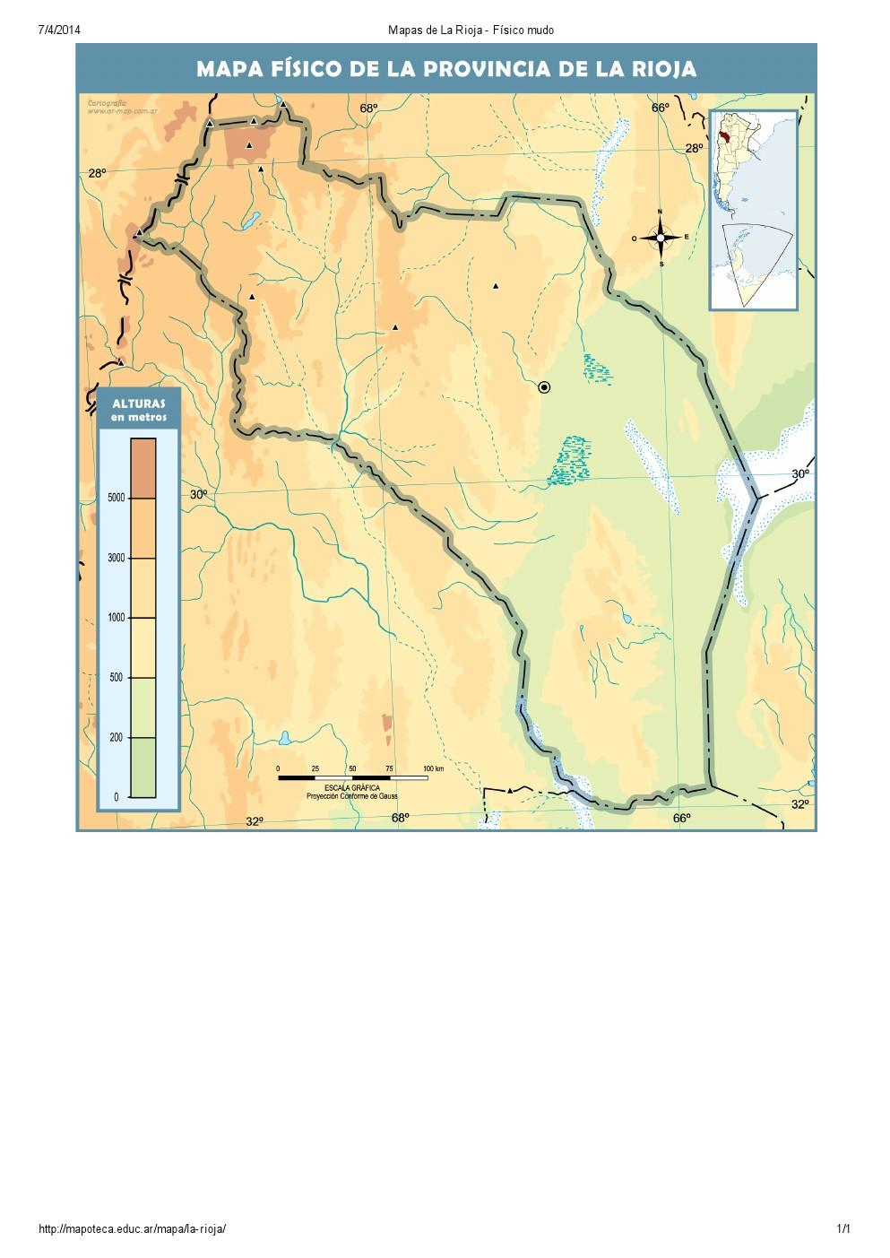 Mapa mudo de ríos de La Rioja. Mapoteca de Educ.ar