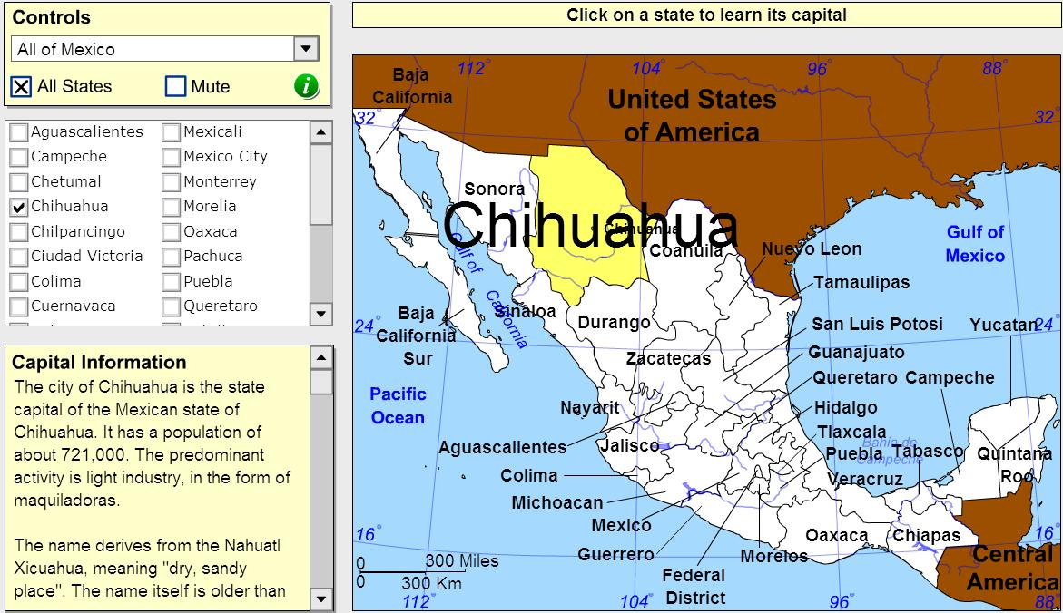 Capitals of Mexico. Tutorial. Sheppard Software