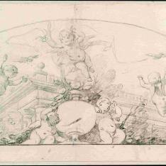 Composición decorativa con arquitectura y angelotes