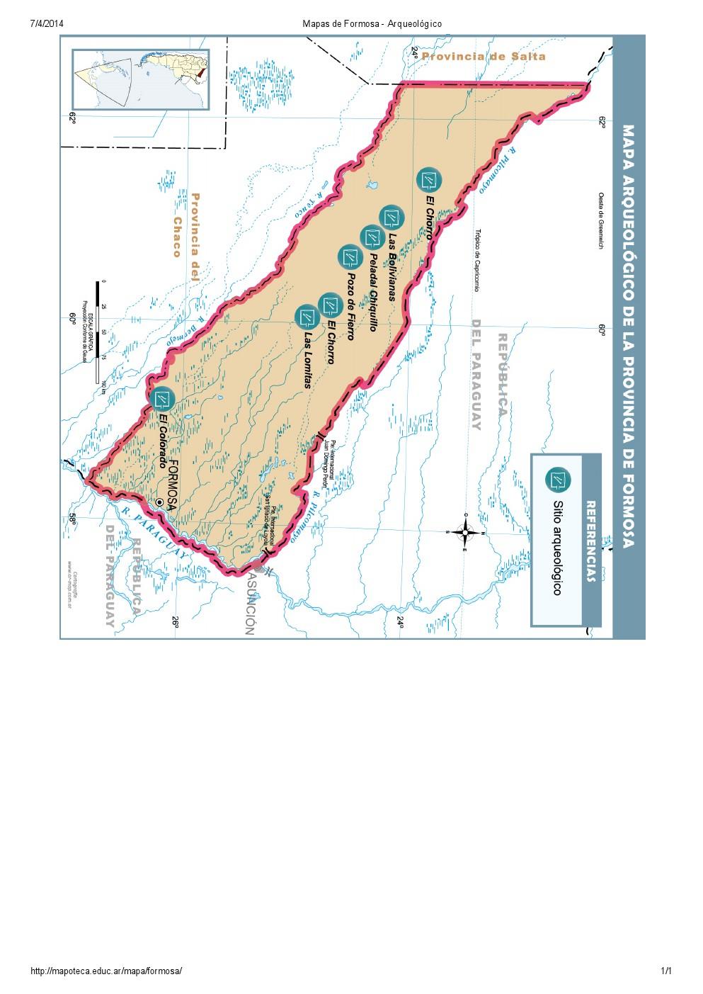 Mapa arqueológico de Formosa. Mapoteca de Educ.ar