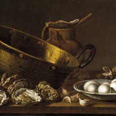 Ostras, ajos, huevos, perol y jarra