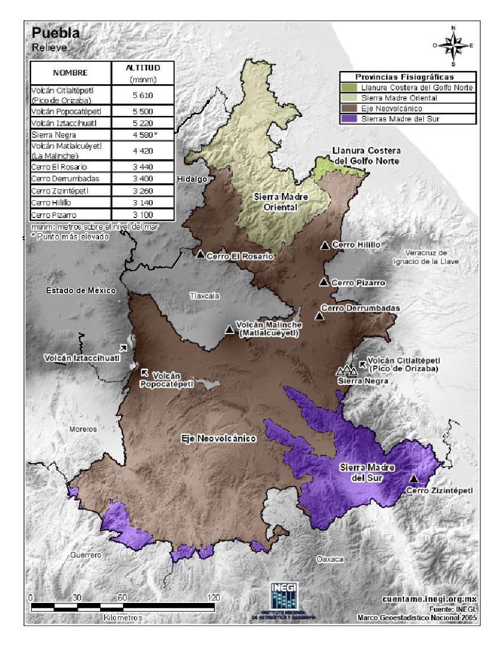 Mapa en color de montañas de Puebla. INEGI de México