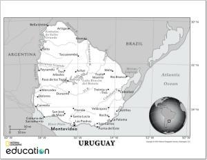 Mapa de ríos y ciudades de Uruguay. National Geographic