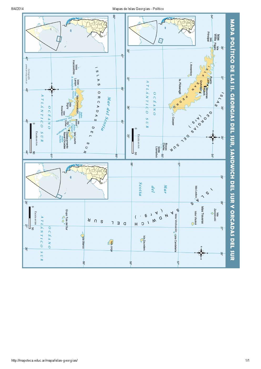 Mapa político de las Islas Georgias, Orcadas y Sandwich. Mapoteca de Educ.ar