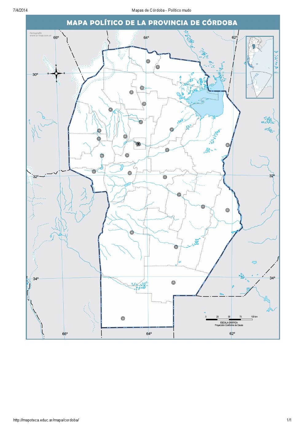 Mapa Para Imprimir De Cordoba Argentina Mapa Mudo De Capitales