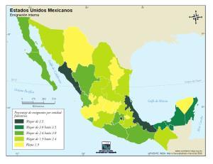 Mapa de emigración en México. INEGI de México