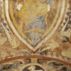 Parte inferior del Pantocrátor. Pintura mural de la Iglesia de la Vera Cruz de Maderuelo.