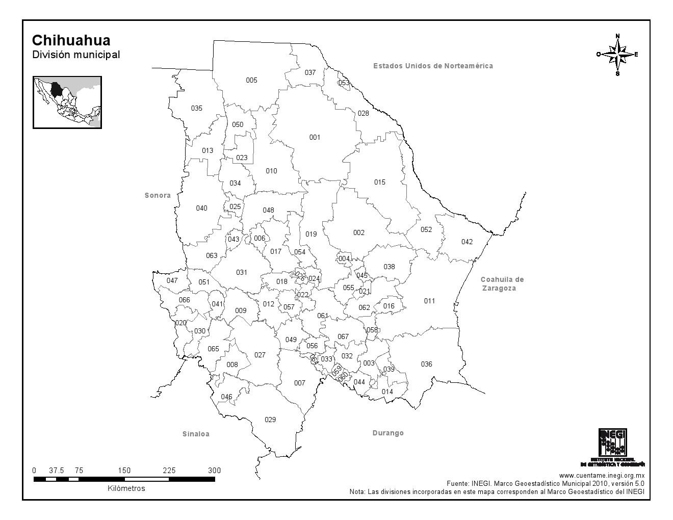 Mapa de municipios de Chihuahua. INEGI de México