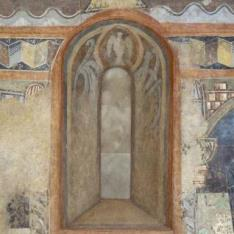 Intradós de ventana. Pintura mural de la Iglesia de la Vera Cruz de Maderuelo.