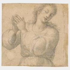 Figura femenina de medio cuerpo, con las manos alzadas en oración / Figura masculina de medio cuerpo, vista de espaldas
