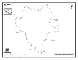 Mapa mudo de Durango. INEGI de México
