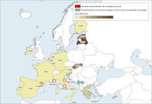 Mapa de Europa: Zona del Euro. Learn Europe
