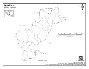 Mapa mudo de municipios de Querétaro. INEGI de México