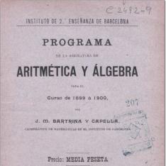 Programa de la asignatura de aritmética y álgebra para el curso de 1899 a 1900