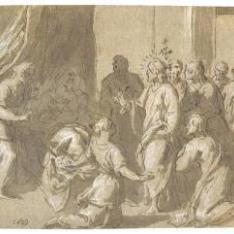 Cristo en compañía de los Apóstoles visitando a la suegra de San Pedro