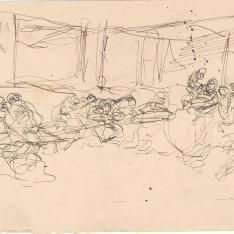 Grupos de figuras sentadas en un banco corrido
