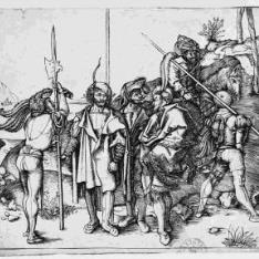 Grupo de soldados con un turco a caballo