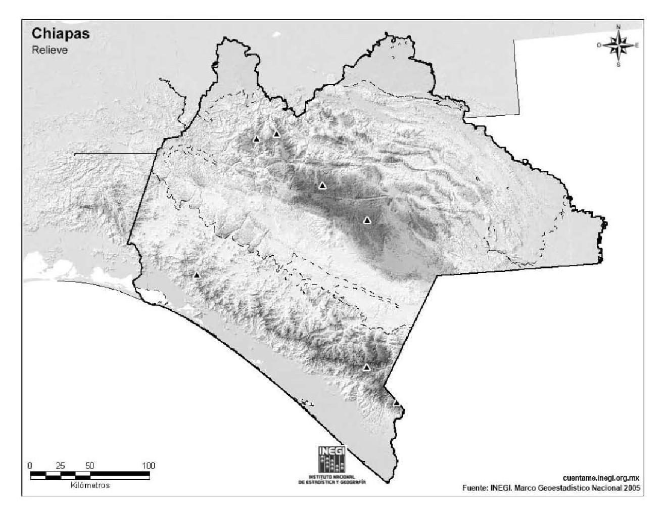 Mapa mudo de montañas de Chiapas. INEGI de México