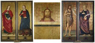 Tríptico: Busto de Cristo, San Juan Bautista y San Pedro. Cerrado: San Juan Evangelista y Santa Columba