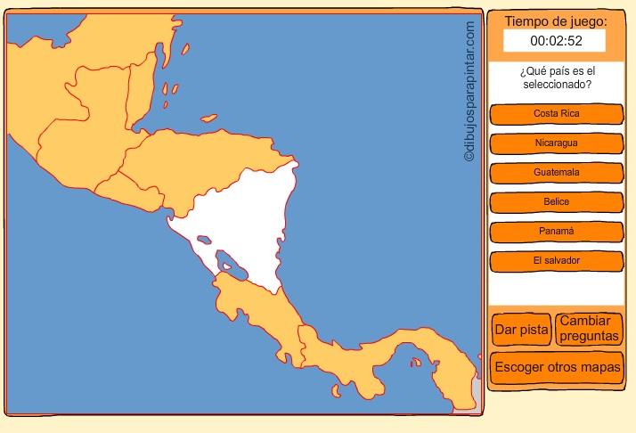 Países de Centroamérica. Dibujos para pintar